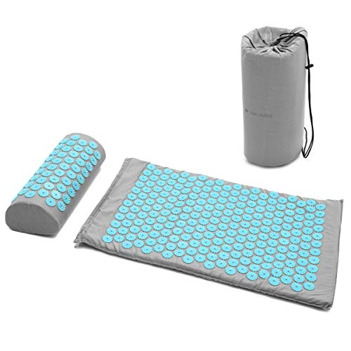 Navaris Set de masaje de acupresión - Esterilla relajante de acupuntura lavable de 68 x 42 x 2 CM con almohada y funda de transporte - Gris turquesa