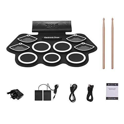 Tragbare elektronische Schlagzeug, Hand Roll Drum Set, 9 Silikon-Pads Eingebaute Stereo-Lautsprecher, mit Fußpedale 3,5 mm Kabel, EU FDWFN (Color : Uk)