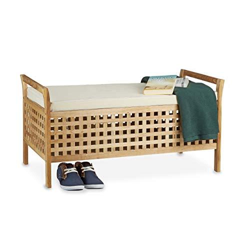 Relaxdays Banc de rangement en bois de noyer banquette assise coffre de rangement meuble à chaussure commode coussin HxlxP: 46,5 x 92,6 x 49 cm, blanc et couleur naturelle
