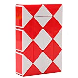 HJXD globle Magic Snake Twist Puzzle Twisty Toy Collection 24 Wedges Magic Ruler Red