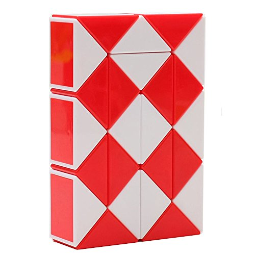 HJXD GLOBLE 매직 스네이크 트위스트 퍼즐 구불 구불 한 장난감 컬렉션 24 웨지 매직 눈금자 레드