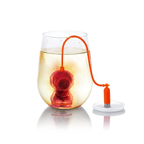 Redlemon Infusor de Té en Forma de Buzo para Infusiones con Hierbas y Hoja Suelta, Silicón 100% Lavable, Infusor de Té para Casa y Oficina