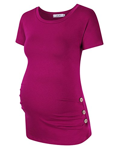 Coolmee Maternity Shirt Side Button and Ruched Maternity Tunic Tops Maternity Short Sleeve T-Shirts (S,Purple-Red)