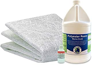 Fiberglass Chopped Strand Mat Repair Kit with 1 Gallon of Polyester Resin with Hardener and .75x38' Wide x5 Yards -15 Feet Fiberglass