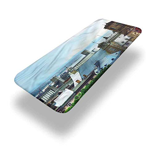 LCGGDB Landscape Polyester Picnic Table Fitted Tablecloth Cover,Old Quebec City Skyline Elastic Edged Picnic Table Covers,36in x 96in (8ft),for Picnic Table
