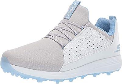 Skechers Women's Max Mojo Spikeless Golf Shoe, White/Gray/Blue, 7.5 M US