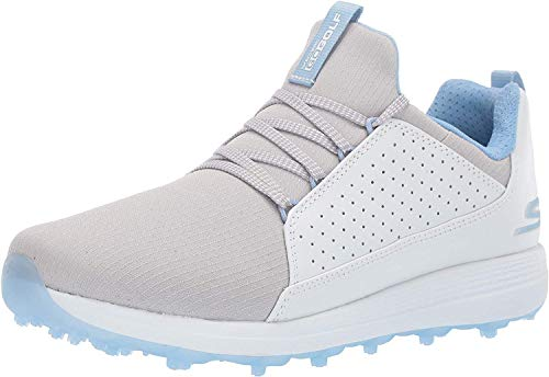 Skechers Women's Max Mojo Spikeless Golf Shoe, White/Gray/Blue, 7.5 M US