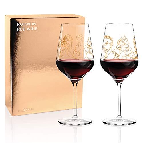 RITZENHOFF Wein-Ensemble Rotweinglas-Set von Burkhard Neie (Pan & Selene | Zeus & Leda), aus Kristallglas, 583 ml, mit echtem Gold