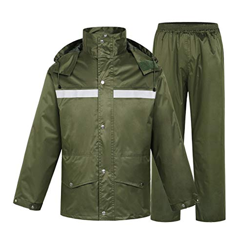 Shop-5 regenjassen - Heavyweight waterdichte jacket/broekpak volwassenen windproof coat/Pants Set donkergroen