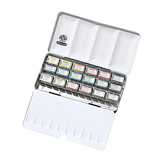 Schmincke Horadam Aquarell Full-Pan Paint Metal Set with 6 Open Spaces, Set of 18 Colors (74318097)