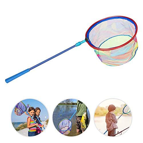"PAKASEPT Kids Fishing Net with Carbon Fiber Telescopic Pole Handle, Lightweight Aluminum Alloy Ring and Polyester Fibers Landing Net, Catch and Release or Butterfly Net (Total Length: 30.4-44.6"")"