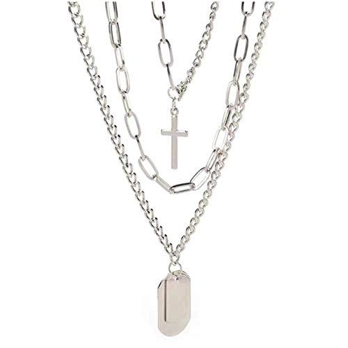 Left Girl Punk Silver Chains Cross Necklace Couple Fashion Street Hip Hop Geometric Metal Pendant Necklaces for Ms, Cross Geometric