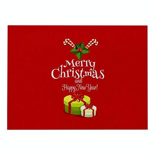 Tovaglietta Set di 6 tovagliette in lino di cotone rosso serie Natale per tavolo da pranzo, party, picnic all'aperto