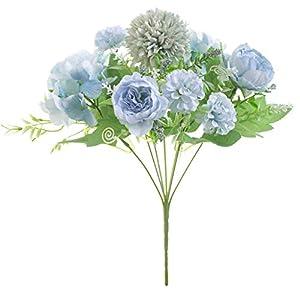 Lovefei – Ramo de hortensias artificiales de seda artificial para decoración de claveles de plástico, arreglos de flores…