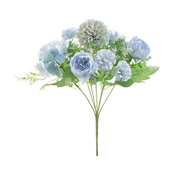 Lovefei – Ramo de flores artificiales de seda y plástico (peonías pequeñas, hortensias, claveles), decoraciones…