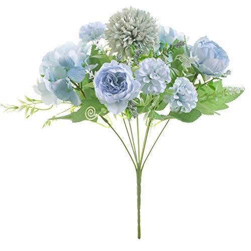 Lovefei - Ramo de hortensias artificiales de seda artificial para decoración de claveles de plástico, arreglos de flores realistas para decoración de bodas, centros de mesa, 2 paquetes