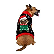SoCal Look Dogs Christmas Sweaters Santa Puppy Pug Pullover Black