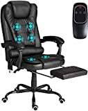 GIODIR Executive Office Chair Ergonomic - High Back PU Leather Computer Desk Chair with Padded Armrest, Footrest, 6-Point Vibration Massage, Adjustable Height, Comfort Lumbar Support