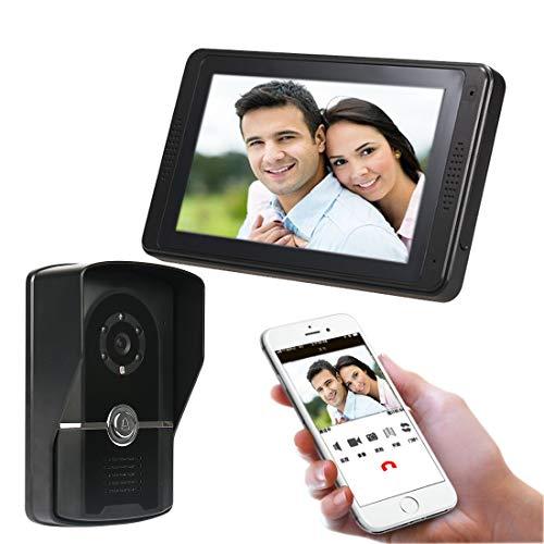 BCCDP Timbre de Puerta Videoportero WiFi Inalámbrico Timbre de Video de Seguridad Exterior Compatible con1080P HD Detección de Movimiento Audio bidireccional Visión Nocturna
