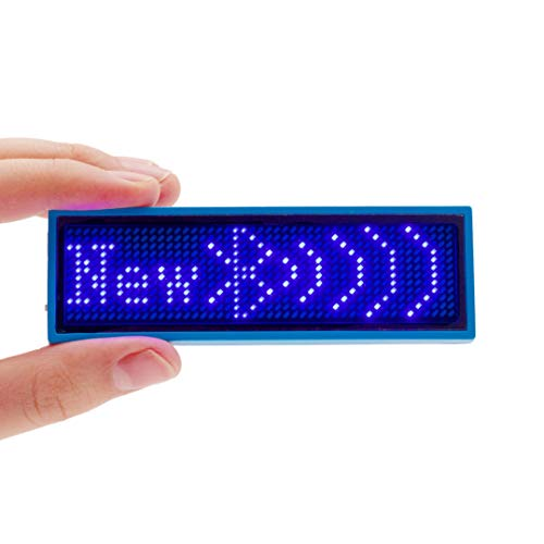 VBLab Upgraded Wireless Bluetooth LED Name Badge Rechargeable Name Tag (Blue 2 Pack)