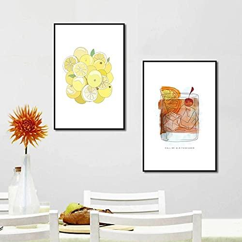 Decoración de cocina para el hogar Imágenes artísticas Restaurante Bebida de limón Decoración Pintura Carteles e impresiones de lienzo de dibujos animados 23.6 'x31.5' X2 / 60x80cm Sin marco