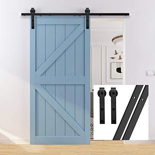 gifsin 7.5FT/228cm Schiebetürbeschlag Set Hängeschiene Schiebetürsystem Tür Hardware Kit für Innentüren,J-Form