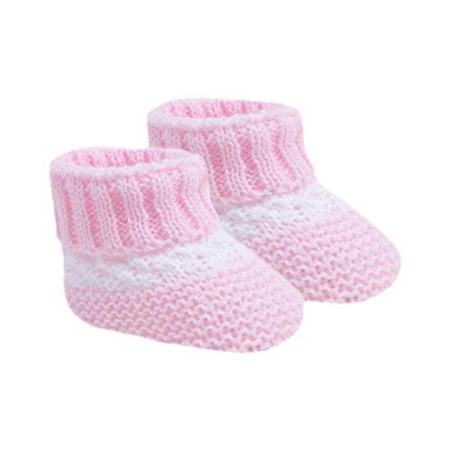 Babyschuhe für Neugeborene Mädchen und Jungen, mit Schleife, gestrickt, gehäkelt, weiche Schuhe, Socken für Babys Gr. 0 Monate, Rosa (S4387)