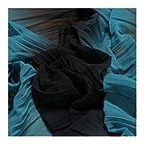 Stoff Polyester Plissee Chiffon Streifen anthrazit türkis