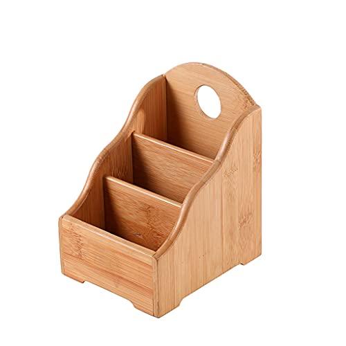 Organizador de escritorio, organizador de almacenamiento de escritorio retro, de madera, con control remoto, 3 compartimentos, contenedor de madera