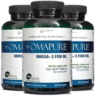 OMAPURE Pharmaceutical Grade Omega-3 Fish Oil (3 Bottles; 120 softgels) | Made with IFOS 5-Star Certified Fish Oil - Teste...