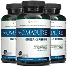 OMAPURE Pharmaceutical Grade Omega-3 Fish Oil (3 Bottles; 120 softgels)   Made with IFOS 5-Star Certified Fish Oil - Tested for Purity, Potency, Radiation, and Freshness