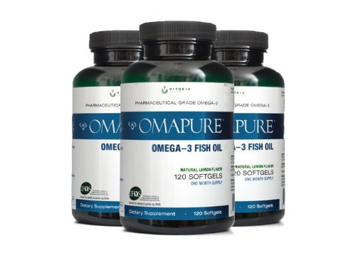 OMAPURE Pharmaceutical Grade Omega-3 Fish Oil (3 Bottles; 120 softgels) | Made with IFOS 5-Star Certified Fish Oil - Tested for Purity, Potency, Radiation, and Freshness