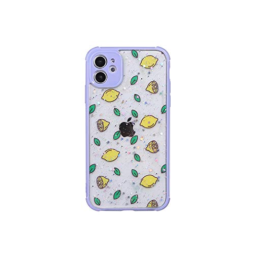 Lindo Verano Fruta Limón Glitter Teléfono Casos Para iPhone 12 11 Pro Max XR XS Max X 8 6S Plus Cámara Protección Back Cover - Para iPhone7 8 (SE2020)