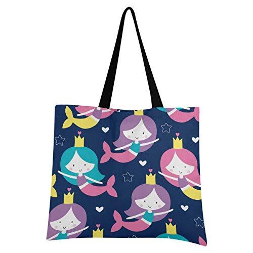 XIXIXIKO Ocean Mermaid - Bolsa de lona ligera para la playa, bolsa de hombro, resistente para mujeres, niñas, compras, gimnasio, playa, viajes, diario