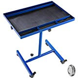 BestEquip Rolling Tool Table 55lbs Capacity Tear Down Tray 30x20inch Mobile Work Table with 4 Swivel Wheels and Adjustable Height Mechanic Table for Holding Automotive Tools in Blue