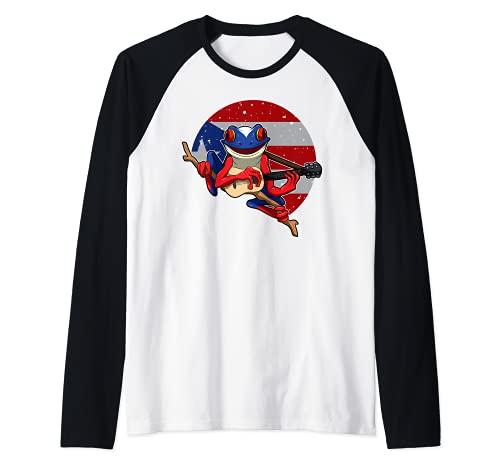 Coqui Frog tocando guitarra - Puerto Rico Animal Camiseta Manga Raglan