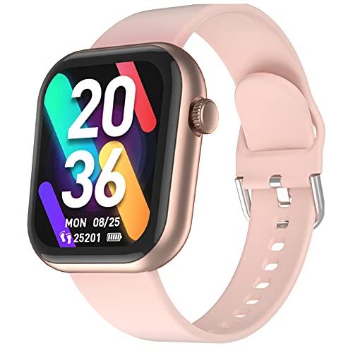 CUBOT Smartwatch C5, 1.7 Zoll Touchscreen Fitness Tracker, Armbanduhr mit Pulsuhr, 5ATM Wasserdicht Fitnessuhr, Schrittzähler, IOS/Android kompatibel, für Herren Damen, Golden