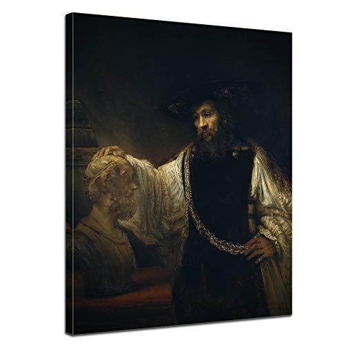 Leinwandbild Rembrandt Aristoteles mit Einer Büste von Homer - 90x120cm hochkant - Alte Meister Keilrahmenbild Leinwandbild Alte Meister Gemälde Kunstdruck Bild auf Leinwand