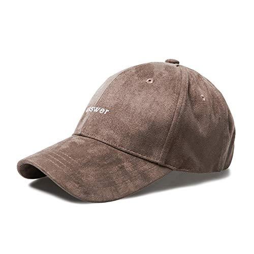 Loe Wildleder Herbst Winter Baseball Cap Herren warme gepolsterte Mütze einstellbar Outdoor Damen lässig Hut Stickerei Brief 4 Farbe optional (Color : Brown)