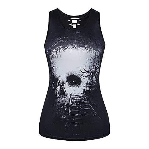 XOXSION Camiseta de verano para mujer, parte superior sin mangas, cuello redondo, vendaje de esqueleto gótico, estampado hueco, chaleco, blusa, túnica, camis A blanco. M