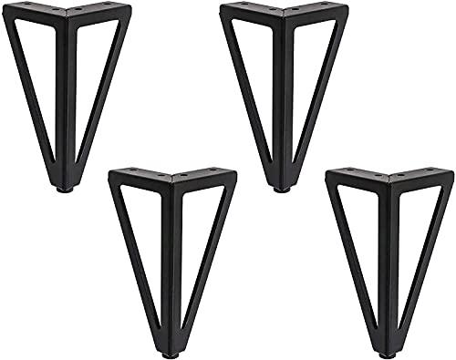 4 Stück Ersatz Möbelfüße Metall, 6' / 15cm Schwarz Möbelfüsse, DIY Möbel Füße Tischbeine Schrankfüsse, Bett für Stühle, Schrank und Sofa, andere Möbelbeine. (15cm, Black2)
