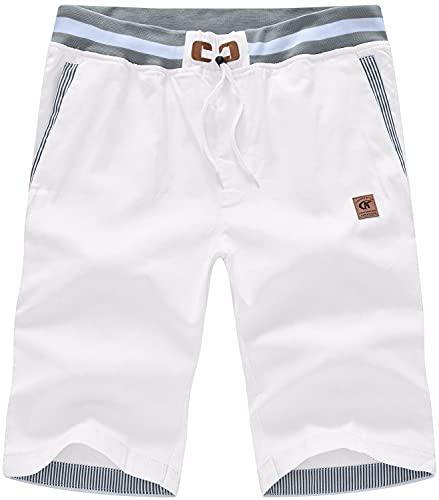 QPNGRP Mens White Shorts Drawstring Slim Casual Elastic Waist 32