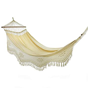 NOVICA Ivory Cotton 1 Person Hammock with Spreader Bars and Crochet Fringe Tropical Nature   Single