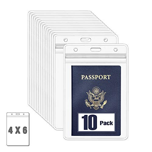 MIFFLIN Passport & Face Mask Holders (Clear, 10 Pack), Extra Large (XXL) ID Name Badge Holder, Waterproof Vertical Plastic Card Holders