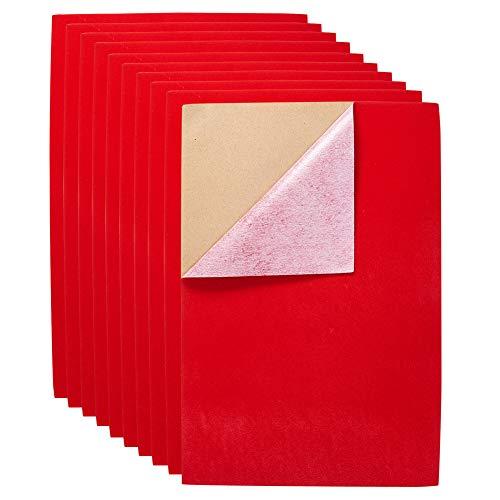 BENECREAT 20PCS Velvet (Rosso) Tessuto Retro Adesivo Retro Fogli di Carta Retro appiccicoso, Foglio A4(21 cm x 30 cm), Autoadesivo all'Acqua, Multiuso