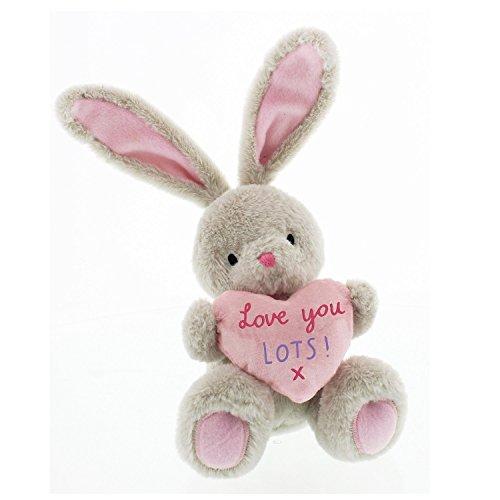 Bebunni lapin assis Taille moyenne 16 cm avec cœur Inscription Love You Lots