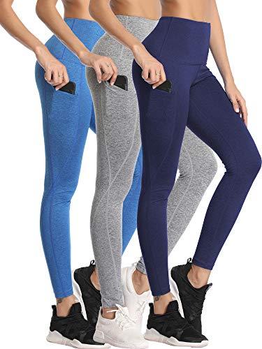 Neleus Women's 3 Pack Yoga Pants Tummy Control High Waist Workout Leggings,Navy/Light Blue/Grey,XL