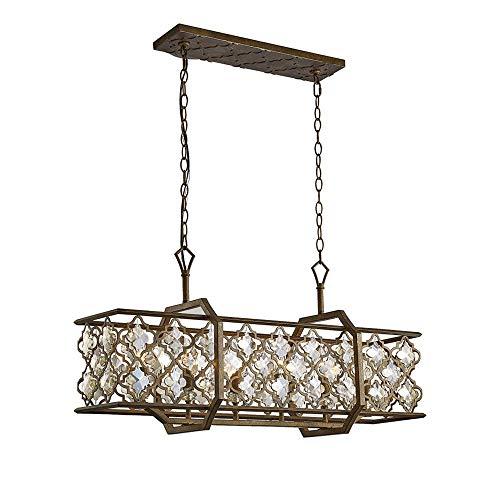Inspired Diyas - Indie - Lámpara colgante de techo 6 luces E14 Rectangular Mocha, Cristal chapado en teca