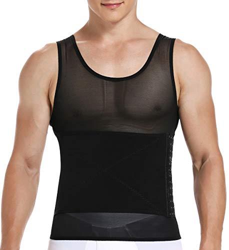 SLIMBELLE Bauchweg Shirt Herren Shapewear Stark Formende Unterhemd Figurformendes Top Kompressions Unterwäsche Abnehmen Body Shaper für Männer in weiß o. schwarz