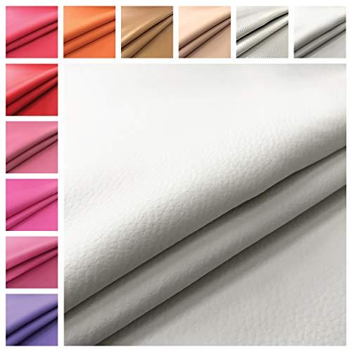 Tessuto Ecopelle morbida finta pelle-100x140 CM-per arredo DIVANI, SEDIE,BORSE7 (Bianco)